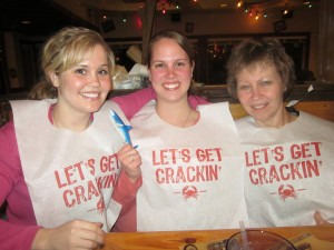 Mom, Laura, and I at Joe's Crab Shack