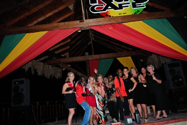 Storming the stage at Rick's Cafe Negril