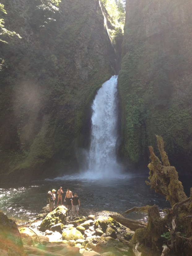Swimming at Wahclella Falls