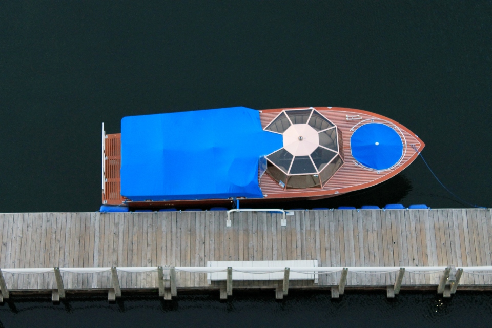 Wooden boat for transport to the Coeur d'Alene golf course