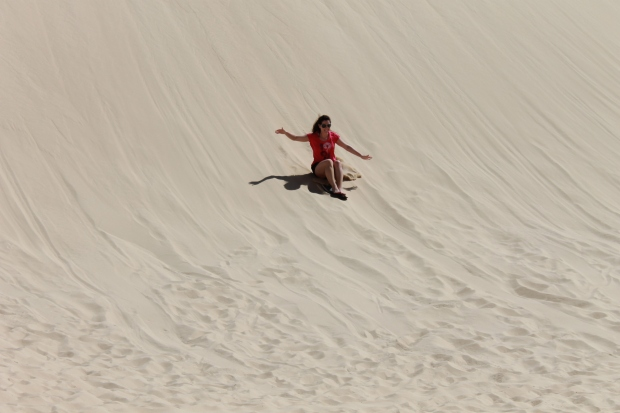 Sandboarding in Birubi Beach